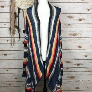 Billabong Fringe Boho Sweater Poncho Striped